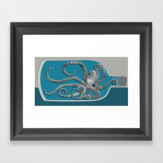 Octopus in a Bottle Framed Art Print