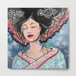 Myeko, La jeune Femme au Kimono Metal Print