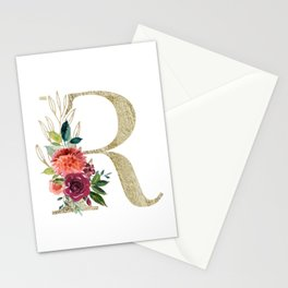 Letter R Monogram Gold and Watercolor Flowers Stationery Cards