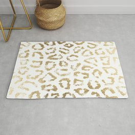 Modern white chic faux gold foil leopard print Rug