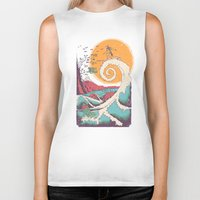 surfer Biker Tanks featuring Surf Before Christmas by Victor Vercesi