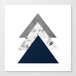 Blue grey monochrome blossom arrows Canvas Print