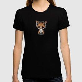 Cute Red Fox Cub Dj Wearing Headphones on Blue T-shirt
