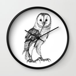 Barn Owl - Drawing In Black Pen Wall Clock