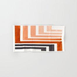 Burnt Sienna Mid Century Modern Watercolor Colorful Ancient Aztec Art Pattern Minimalist Geometric P Hand & Bath Towel