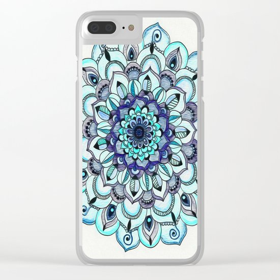 Tide Meets Shore - Blue Mandala Clear iPhone Case