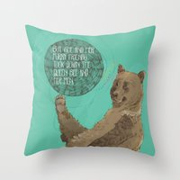 furry Throw Pillows featuring Furry Friends by Emily Krueger Illustration