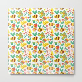 Cute Bumblebee Ladybug Butterfly Garden Pattern Metal Print
