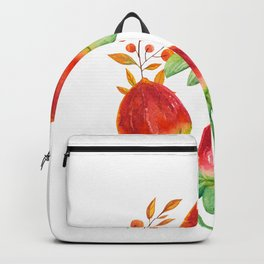 Hand painted orange red green watercolor fall floral Backpack