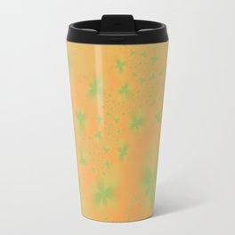 Green Abstract Flowers on Mustard Travel Mug