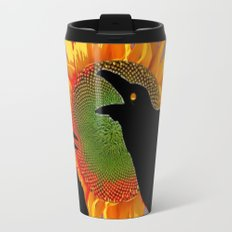 Two Contentious Crows/Ravens & Yellow Sunflower Grey Art Travel Mug
