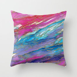 AGATE MAGIC PinkAqua Red Lavender, Marble Geode Natural Stone Inspired Watercolor Abstract Painting Throw Pillow