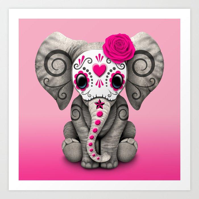 Pink Day of the Dead Sugar Skull Baby Elephant Kunstdrucke