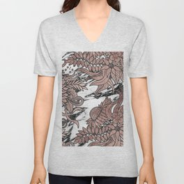 Chic Rose Gold Flowers Leaves and Modern Marble Unisex V-Neck
