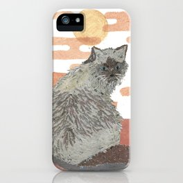CAT, Pink Sunset, Mixed Media iPhone Case