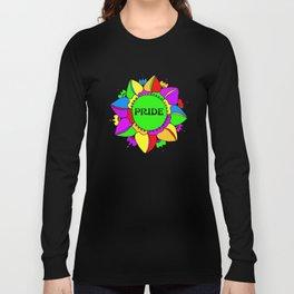 Rainbow Pride Mandala - Black Background Long Sleeve T-shirt