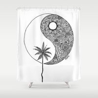 yin yang Shower Curtains featuring Yin Yang by KA Doodle