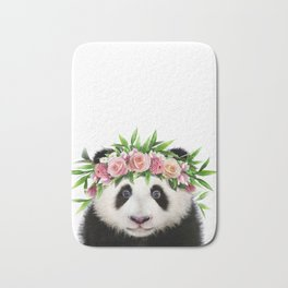 Baby Panda With Flower Crown, Baby Animals Art Print By Synplus Bath Mat