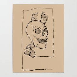 Connected line skull illustration Poster