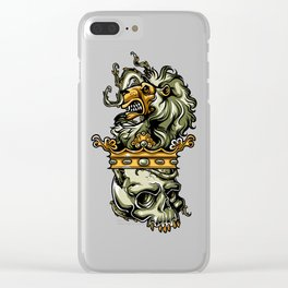 Deathly Lion -  Lion on Dead Skull Clear iPhone Case