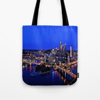 pittsburgh Tote Bags featuring Pittsburgh Dreamer by ameliajoycelee