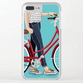 Girl Bike Clear iPhone Case