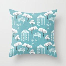 Whimsical vintage secret garden modern toile pastel blue, white Throw Pillow