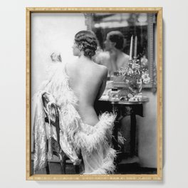 Ziegfeld Girl at her Dressing Table back stage, Paris black and white photograph Serving Tray
