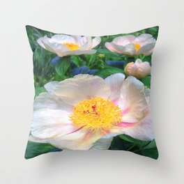 Lovely Krinkled White Peonies Throw Pillow