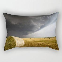 Spinning Gold - Storm Over Hay Bales in Kansas Field Rectangular Pillow