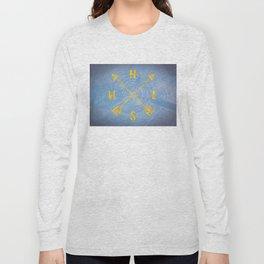 Compass Tree Gold on Blue Long Sleeve T-shirt