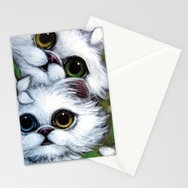 SPRING WHITE PERSIAN KITTEENS CATS ODD EYES & FLOWERS Stationery Cards