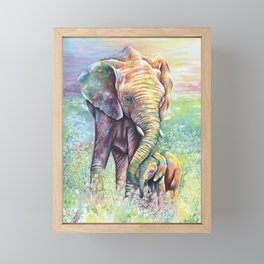 Colorful Mother Elephant and Baby Framed Mini Art Print