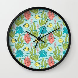 Tropical Fish and Coral Reef in Pastel Wall Clock