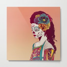 Mexican Skull Lady Metal Print