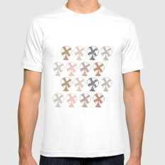 fans pattern MEDIUM White Mens Fitted Tee