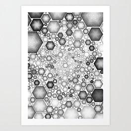 HEXAGONS BLACK AND WHITE Art Print