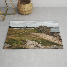 Seascape against sky in Brittany Rug