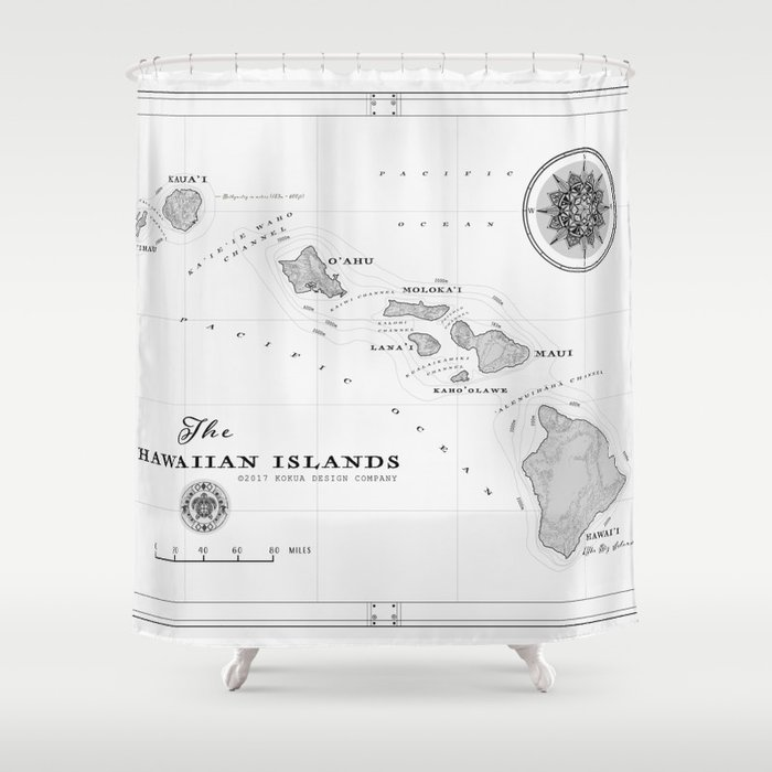 The Hawaiian Islands Black White Map Print Shower Curtain By