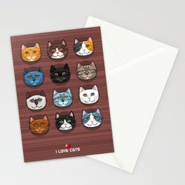 I love cats Stationery Cards