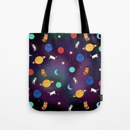 """""""Cats from outer space!"""" Galaxy Print Tote Bag"""