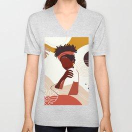 Black Woman Illustration Art, Portrait Print, Black Girl Wall Art, African American Woman Art Unisex V-Neck