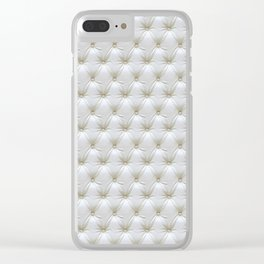 Faux White Leather Buttoned Clear iPhone Case