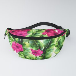 green banana palm leaves and pink flowers Fanny Pack