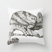 chameleon Throw Pillows featuring Chameleon by Pris Roos