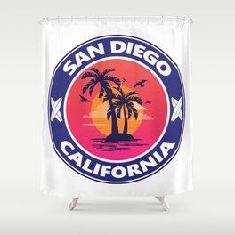 Surf San Diego California Shower Curtain