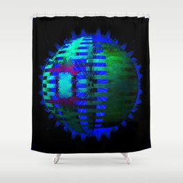 Green Layered Star in Blue Flames Shower Curtain