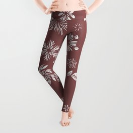White and Brown Flowers  Leggings