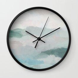 Sage Green Sky Blue Blush Pink Abstract Nature Sky Wall Art, Water Land Painting Print Wall Clock