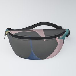 Gentle Leaves In Pinks, Blue, and Teal With Dark Gray Background Fanny Pack